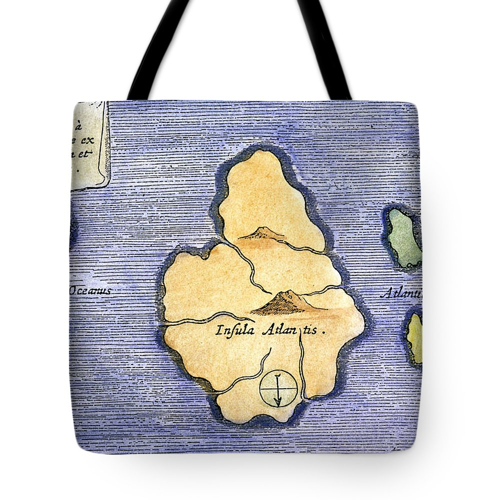 1678 Tote Bag featuring the painting Map Of Atlantis, 1678 by Granger