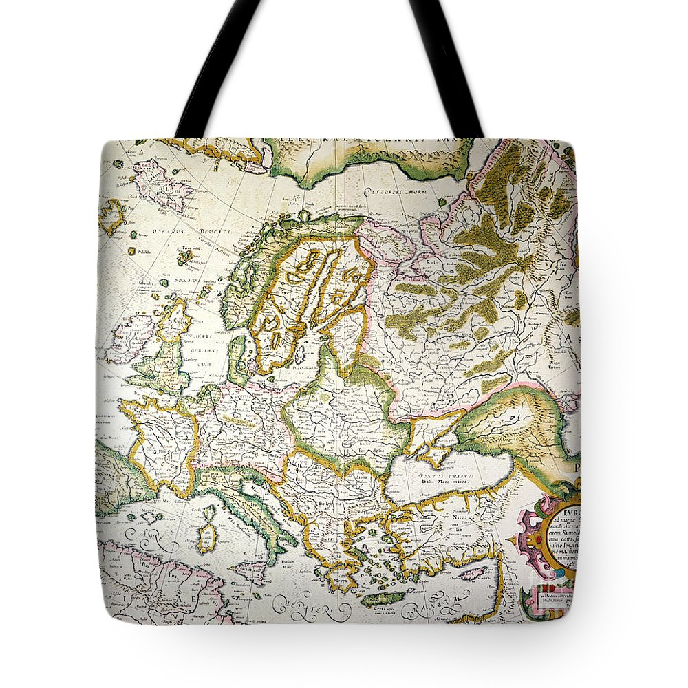 1623 Tote Bag featuring the painting Map Of Europe, 1623 by Granger