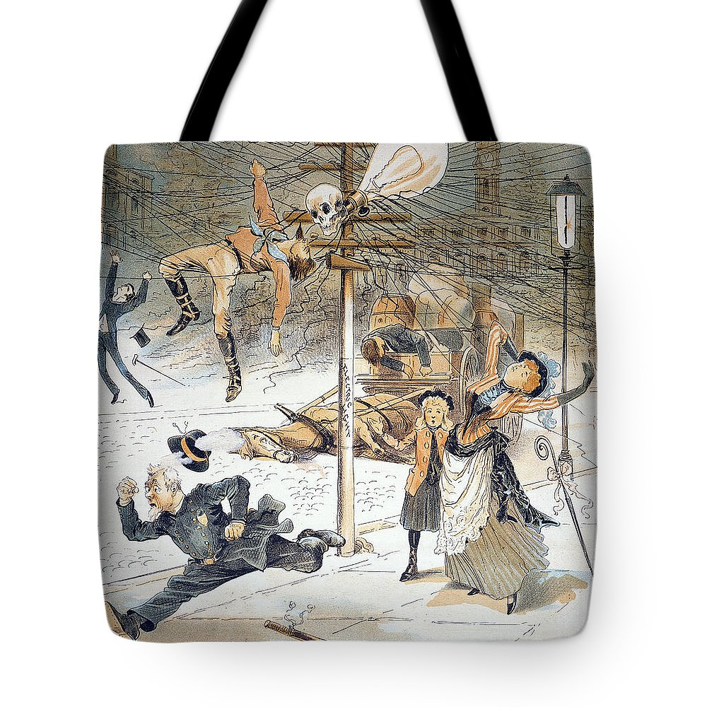 1889 Tote Bag featuring the painting Electricity Cartoon, 1889 by Granger