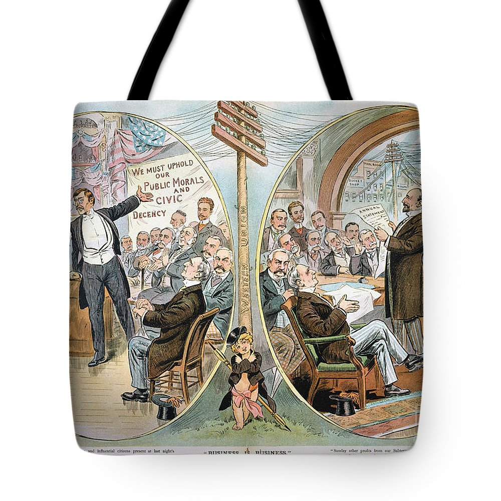 1904 Tote Bag featuring the painting Business Cartoon, 1904 by Granger