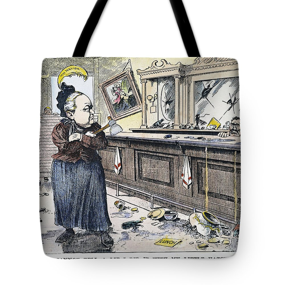 1901 Tote Bag featuring the painting Carry Nation Cartoon, 1901 by Granger