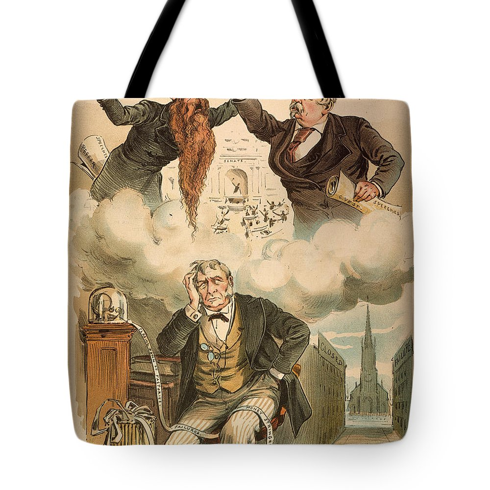 1893 Tote Bag featuring the painting Cartoon: Panic Of 1893 by Granger