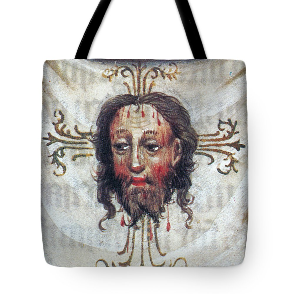 15th Century Tote Bag featuring the painting Veronica's Veil by Granger
