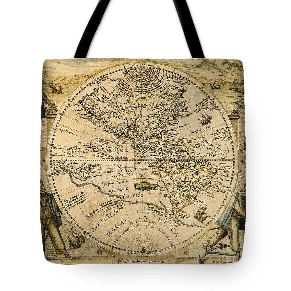 1596 Tote Bag featuring the painting W. Hemisphere Map, 1596 by Granger