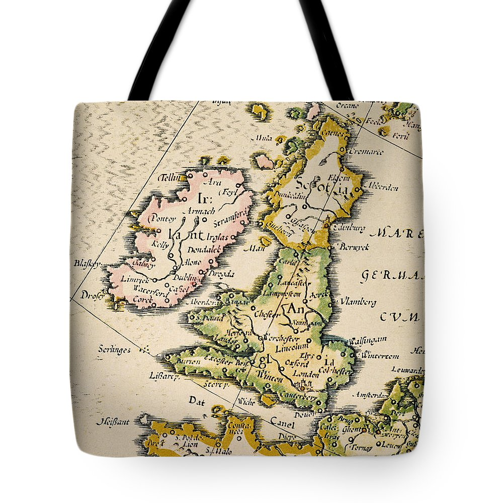 1623 Tote Bag featuring the painting Map Of Great Britain, 1623 by Granger