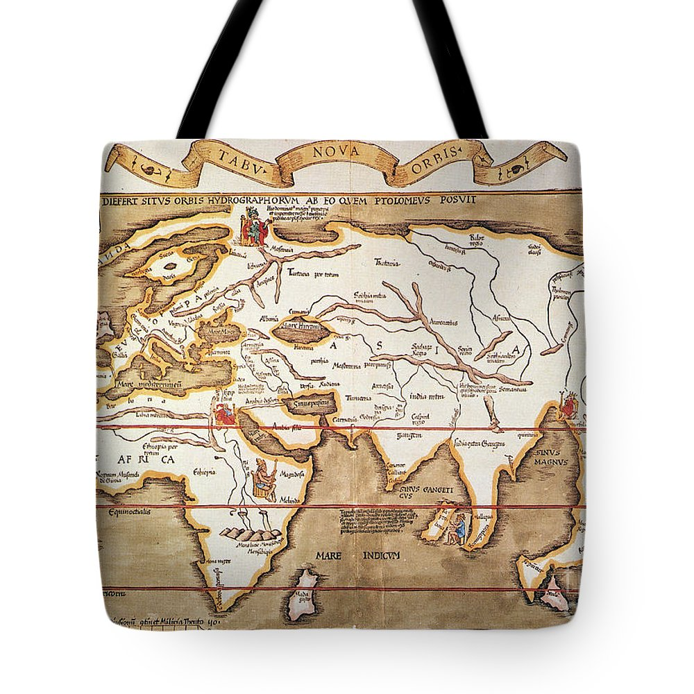 1535 Tote Bag featuring the painting Waldseemuller: World Map by Granger