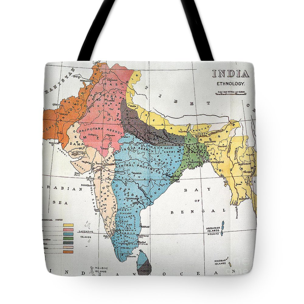 Aod Tote Bag featuring the painting India: Map, 19th Century by Granger
