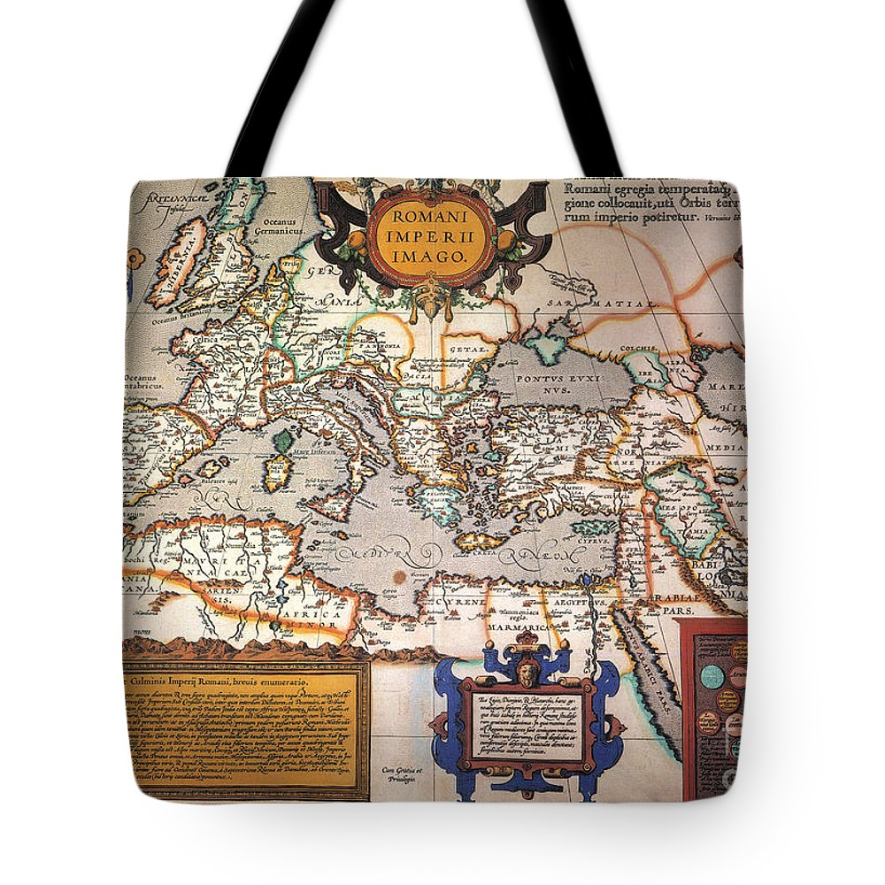 1595 Tote Bag featuring the painting Map Of The Roman Empire by Granger
