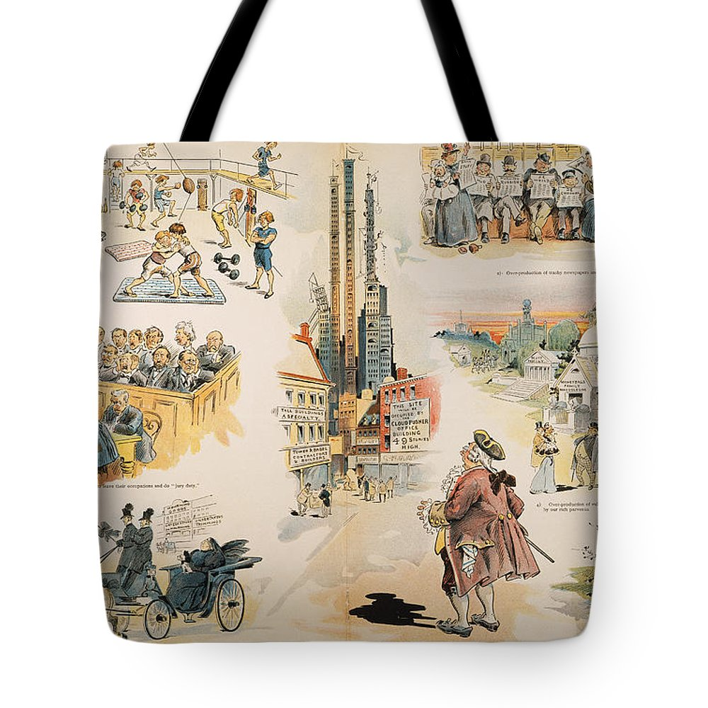 1896 Tote Bag featuring the painting Overproduction Cartoon by Granger