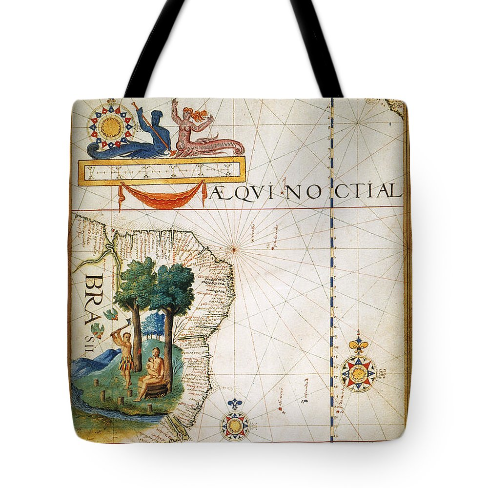 1565 Tote Bag featuring the painting Brazil: Map And Native Indians by Granger