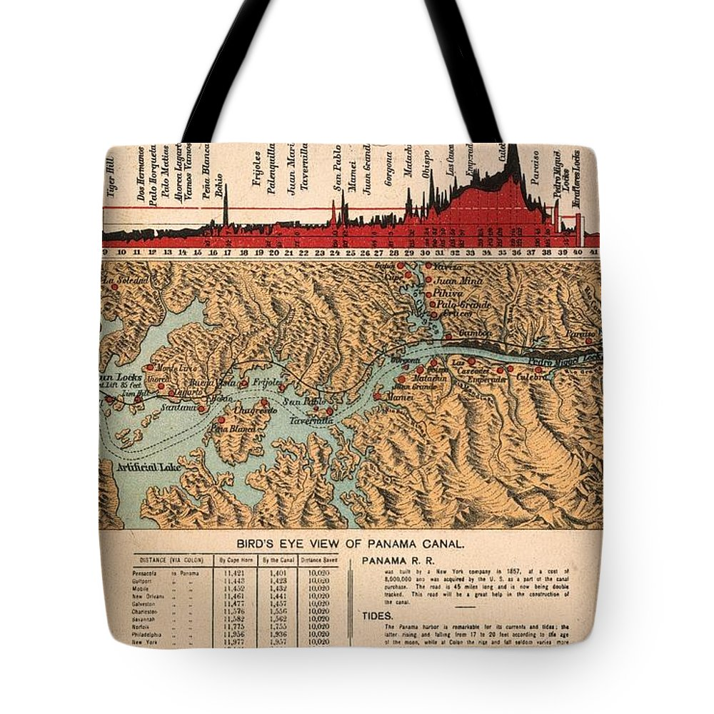 1914 Tote Bag featuring the painting Card: Panama Canal, 1914 by Granger