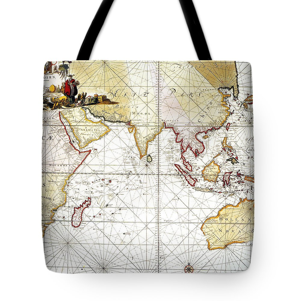 1705 Tote Bag featuring the painting Indian Ocean: Map, 1705 by Granger