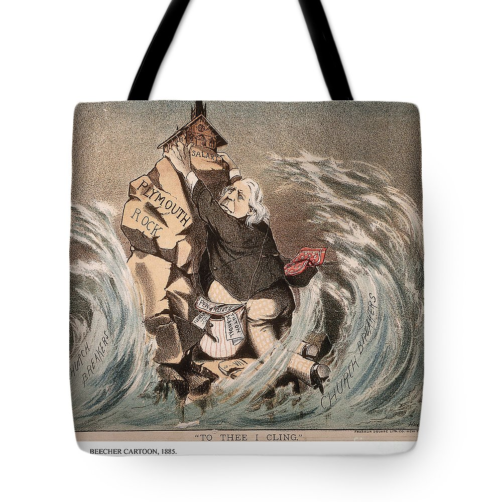 1885 Tote Bag featuring the painting Beecher Cartoon, 1885 by Granger