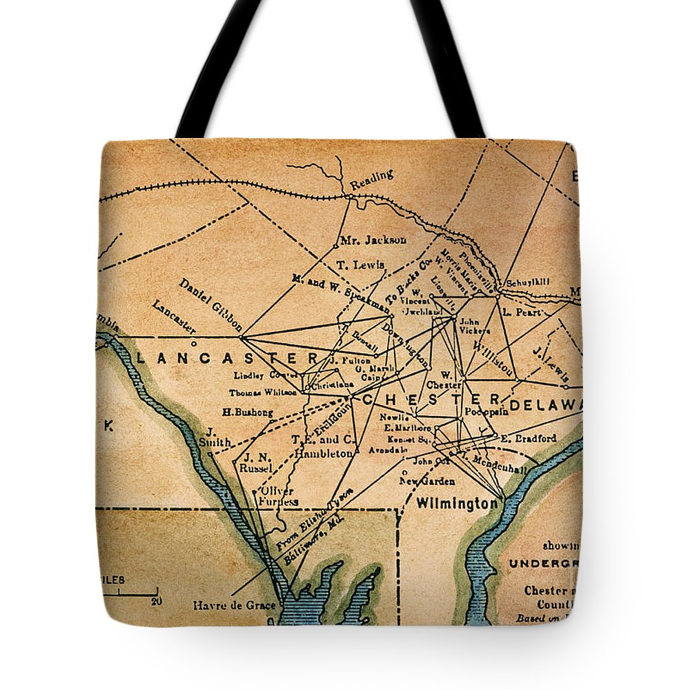 19th Century Tote Bag featuring the painting Underground Railroad Map by Granger
