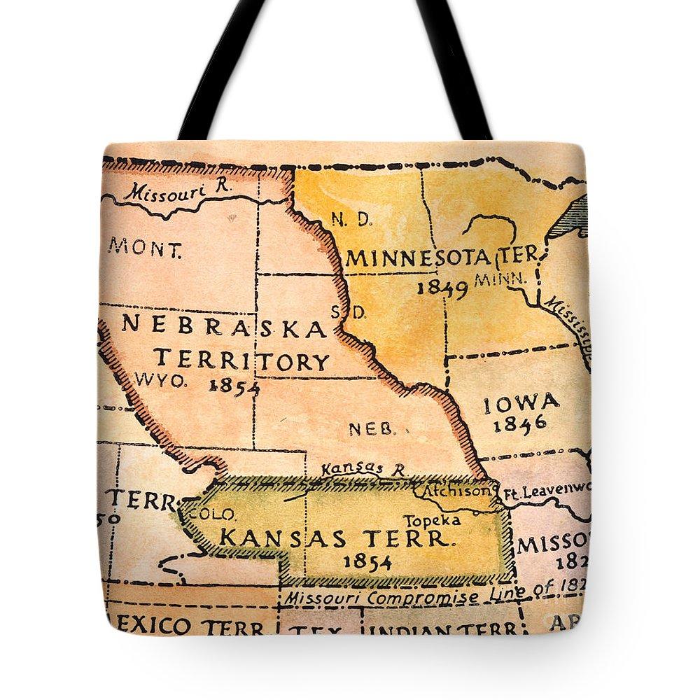 Kansas Nebraska Map 1854 Tote Bag For Sale By Granger