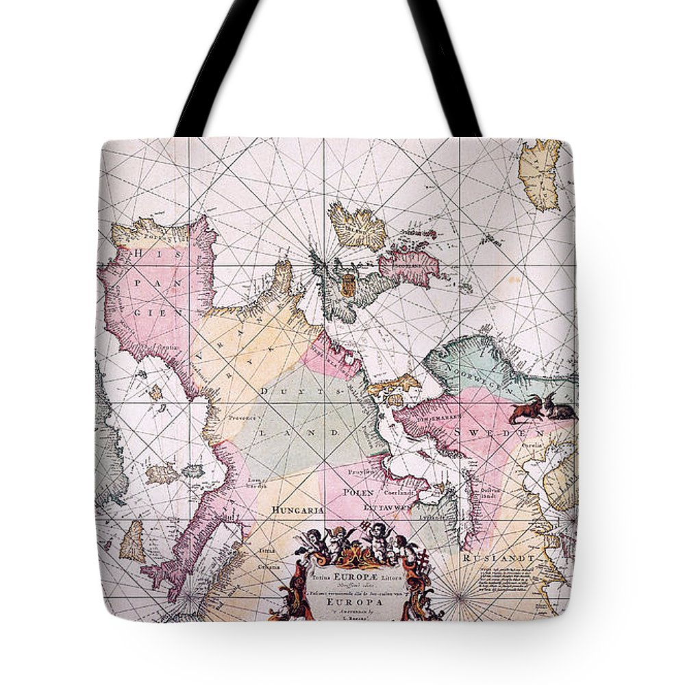 1715 Tote Bag featuring the painting Map: European Coasts, 1715 by Granger