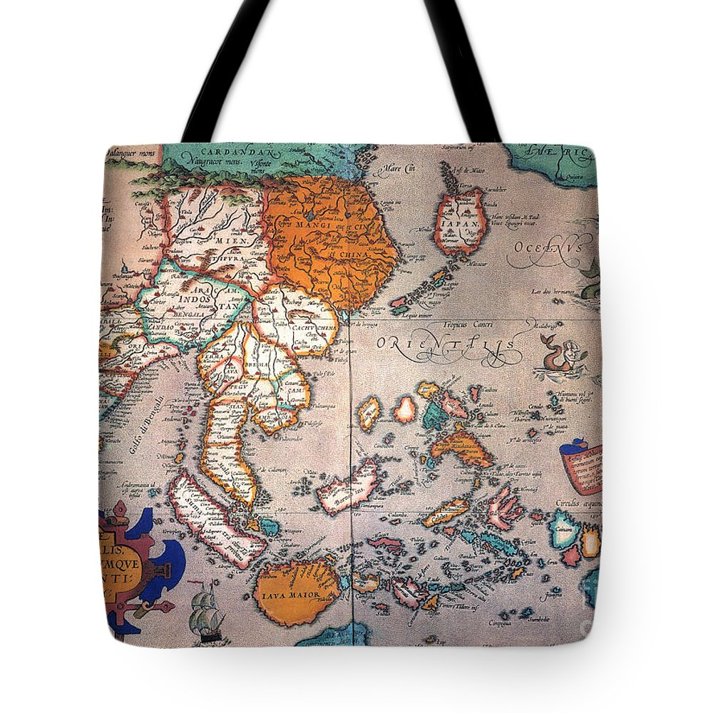 1595 Tote Bag featuring the painting Pacific Ocean/asia, 1595 by Granger