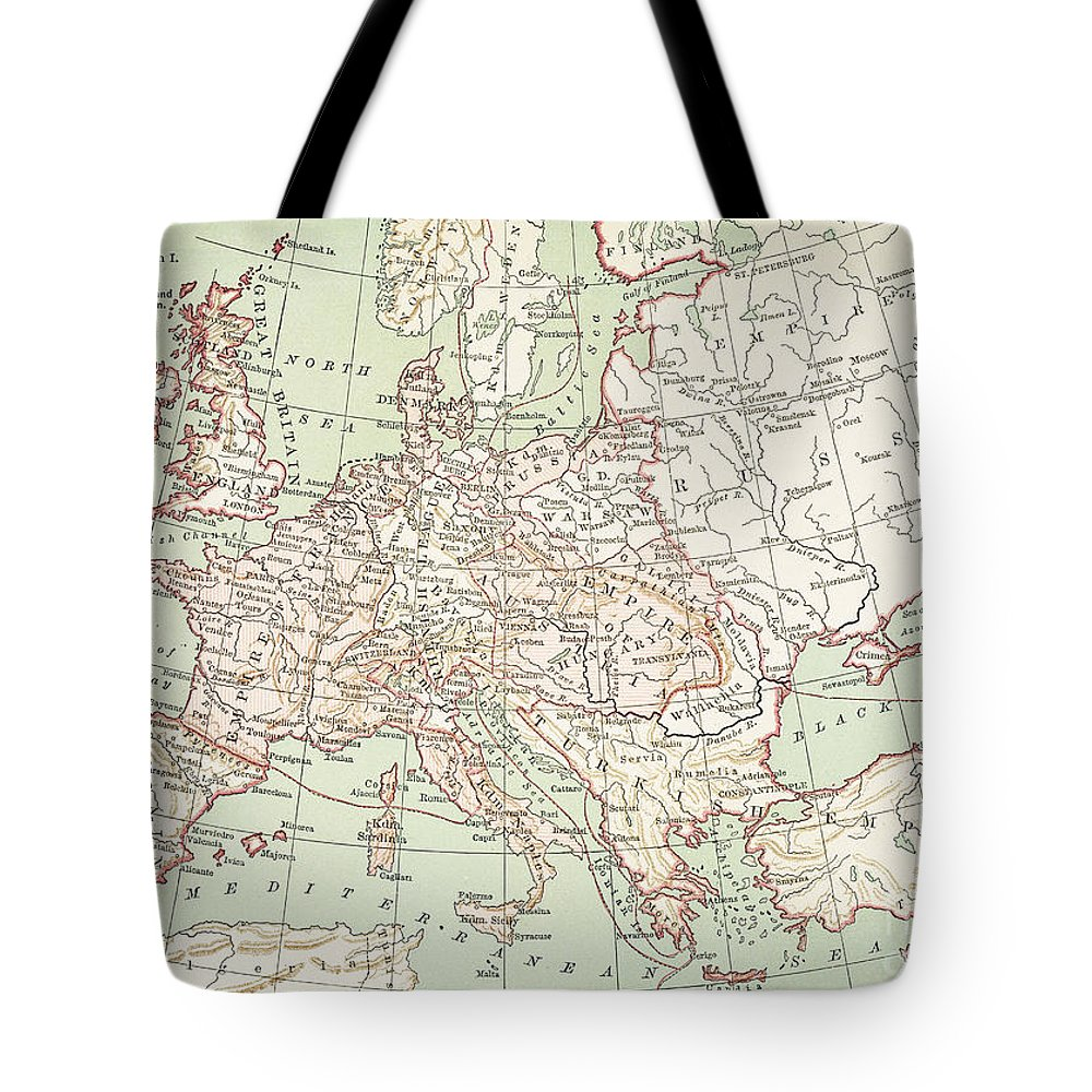 1810s Tote Bag featuring the painting Map Of Europe, C1812 by Granger