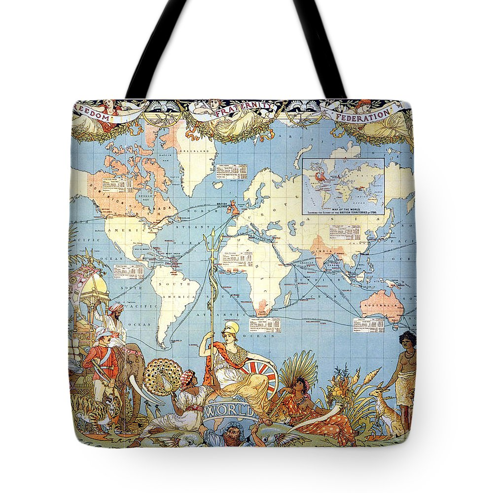 1886 Tote Bag featuring the painting Map: British Empire, 1886 by Granger