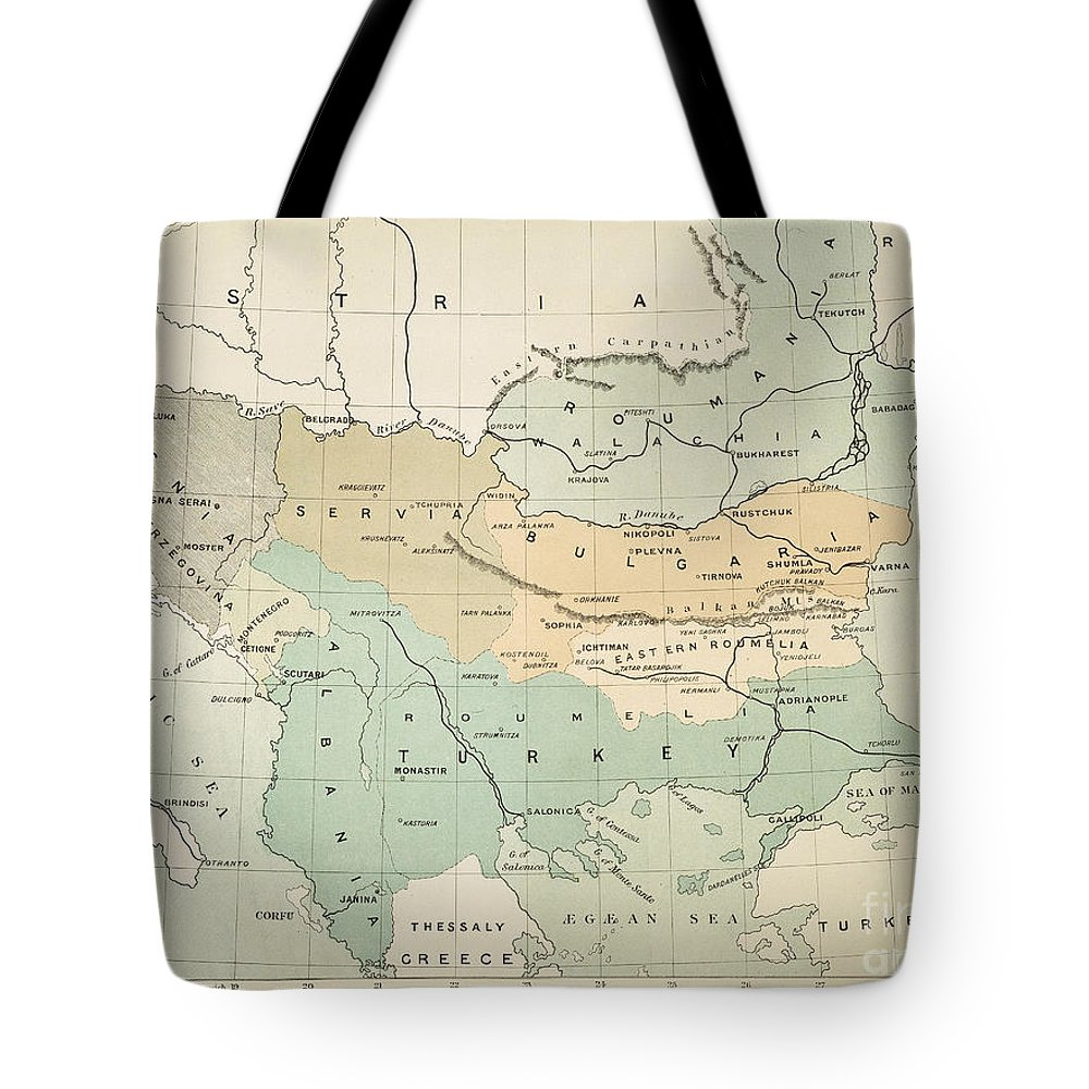 1885 Tote Bag featuring the painting Balkan Map, 1885 by Granger