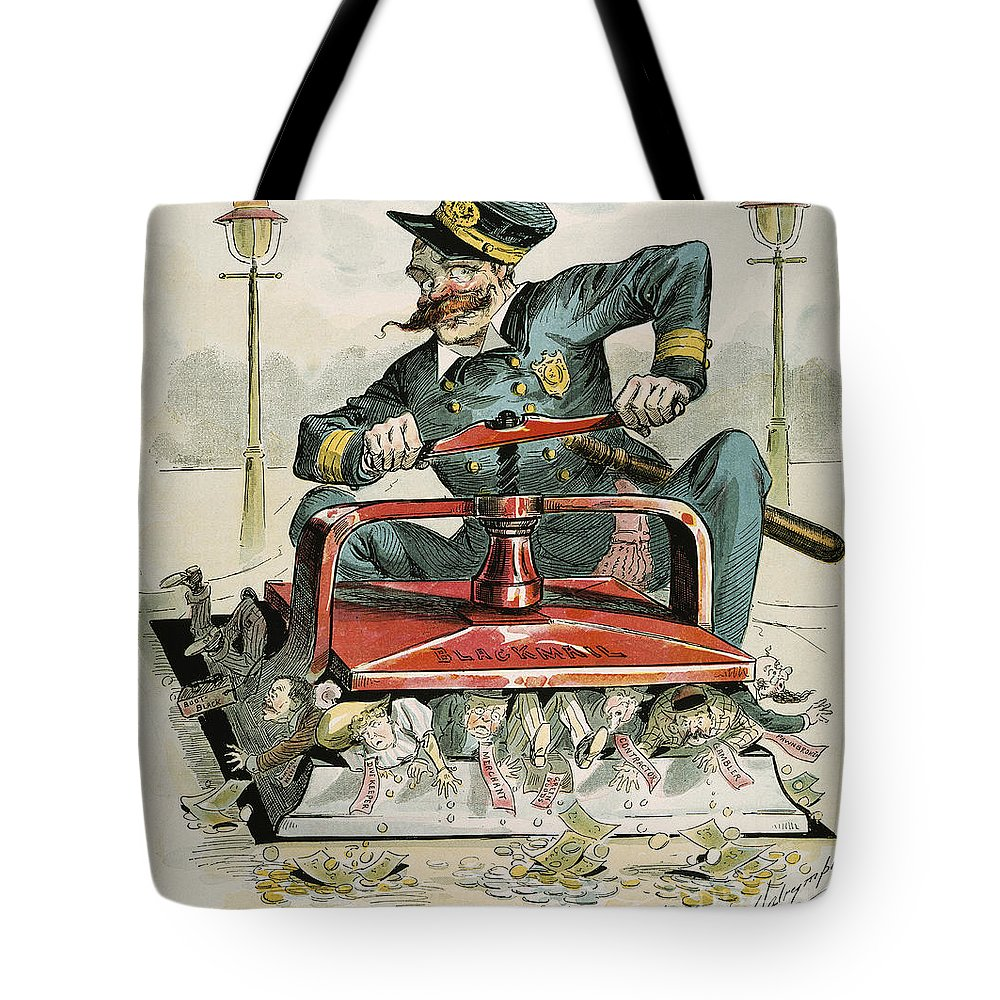 1894 Tote Bag featuring the painting Police Corruption Cartoon by Granger