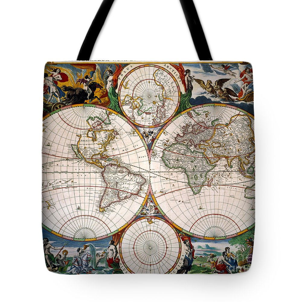 Aod Tote Bag featuring the painting World Map, 17th Century by Granger