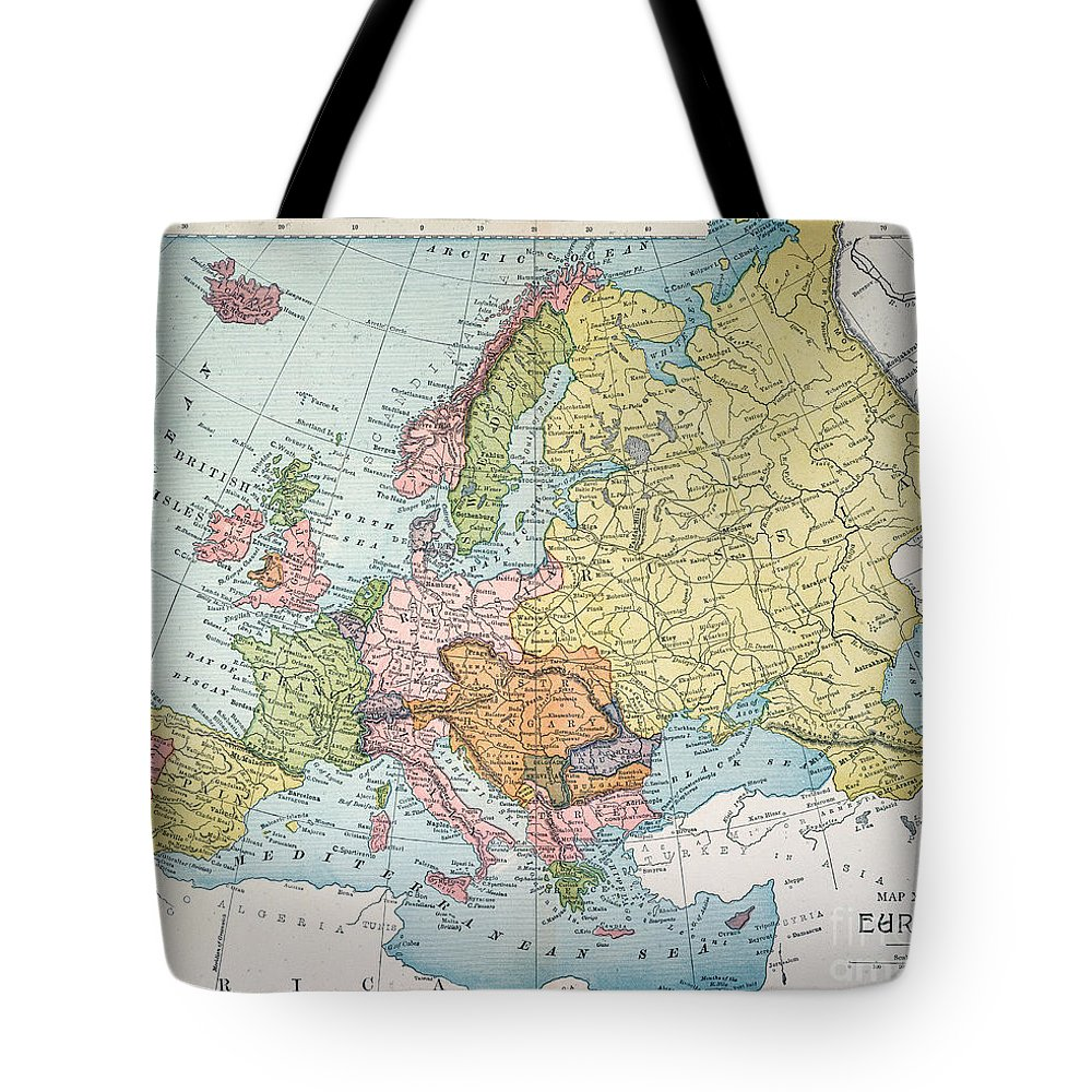 1885 Tote Bag featuring the painting Map: Europe, 1885 by Granger