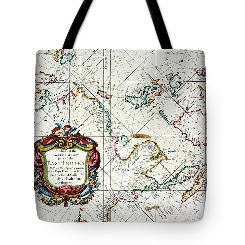 1670 Tote Bag featuring the painting East Indies Map, 1670 by Granger