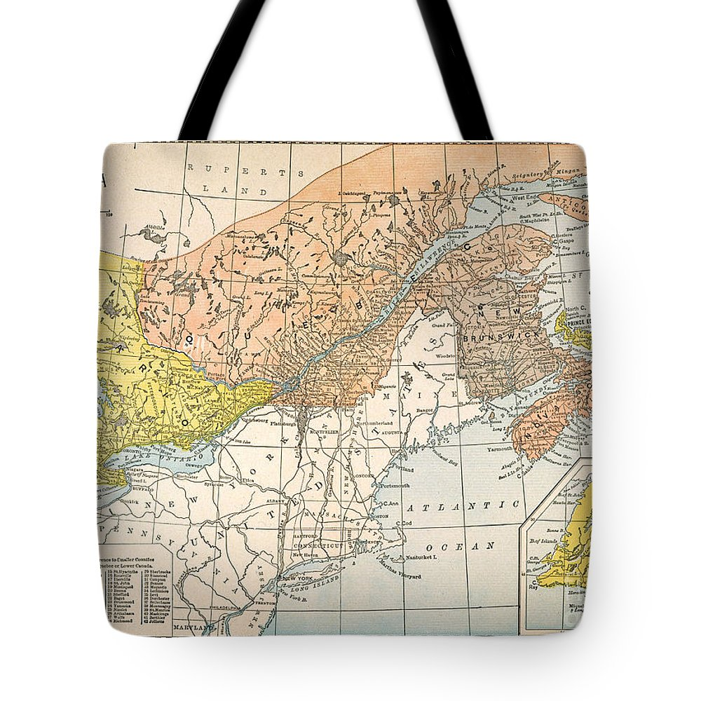 19th Century Tote Bag featuring the painting Map: Eastern Canada by Granger