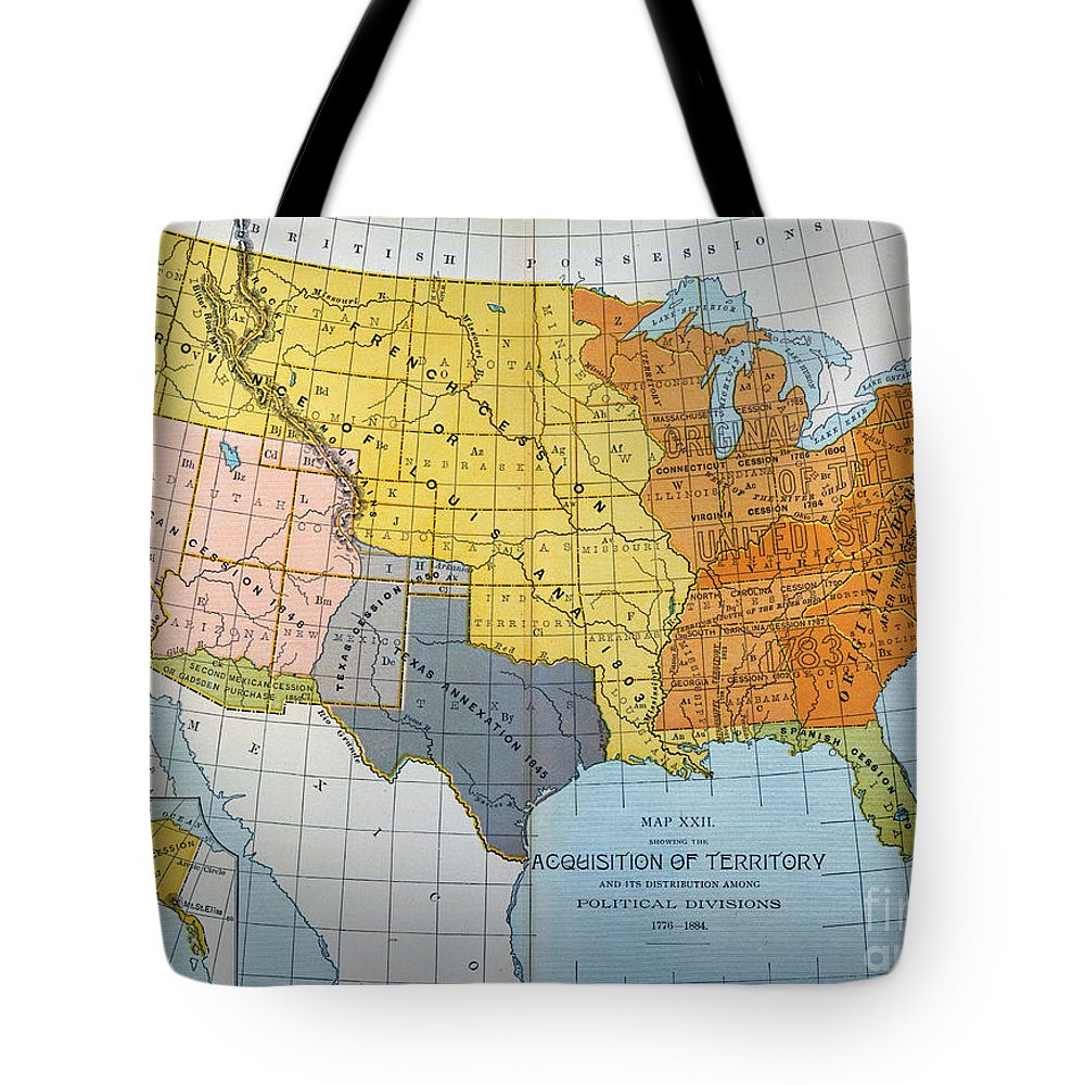 1776 Tote Bag featuring the painting U.s. Map, 1776/1884 by Granger