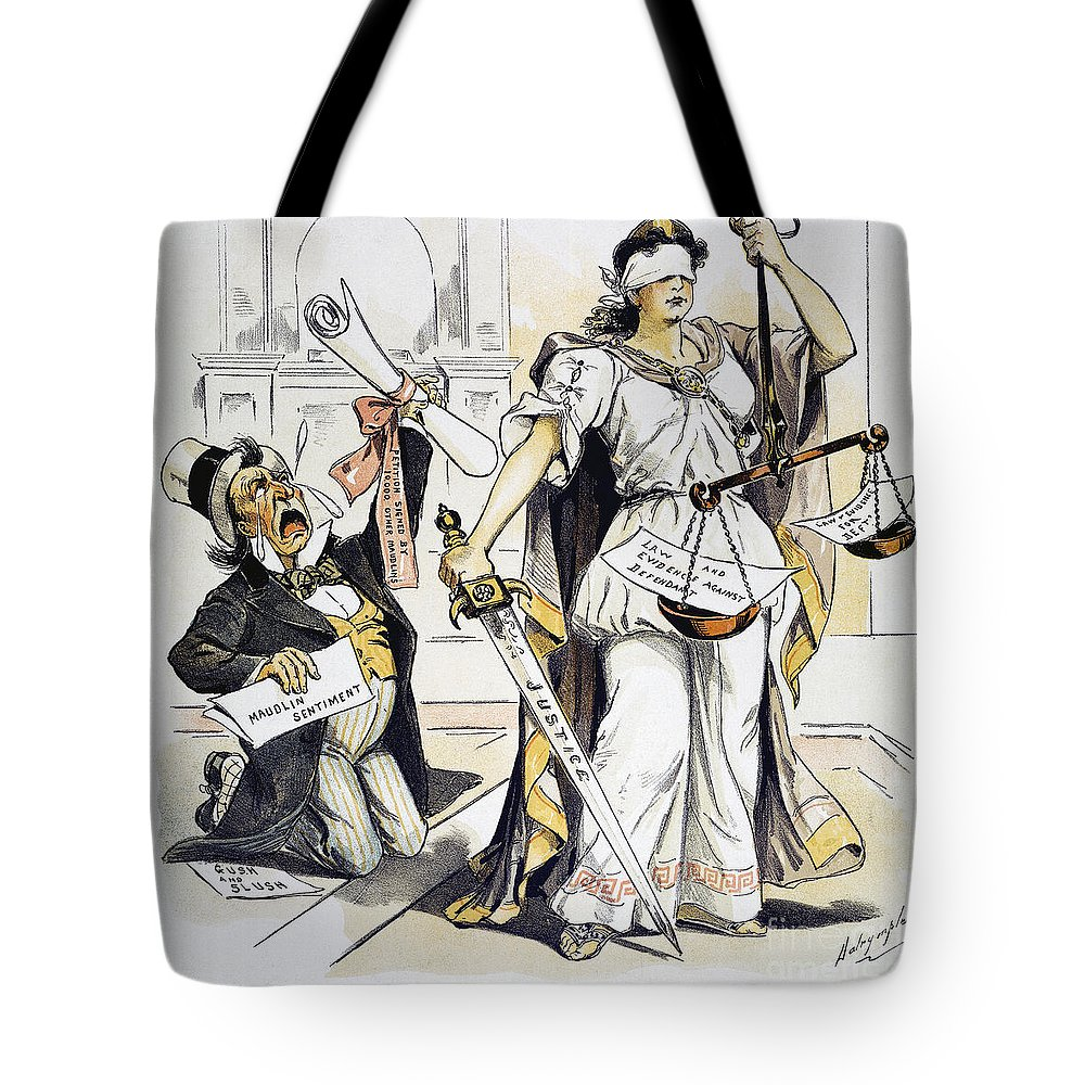 1893 Tote Bag featuring the painting Justice Cartoon by Granger