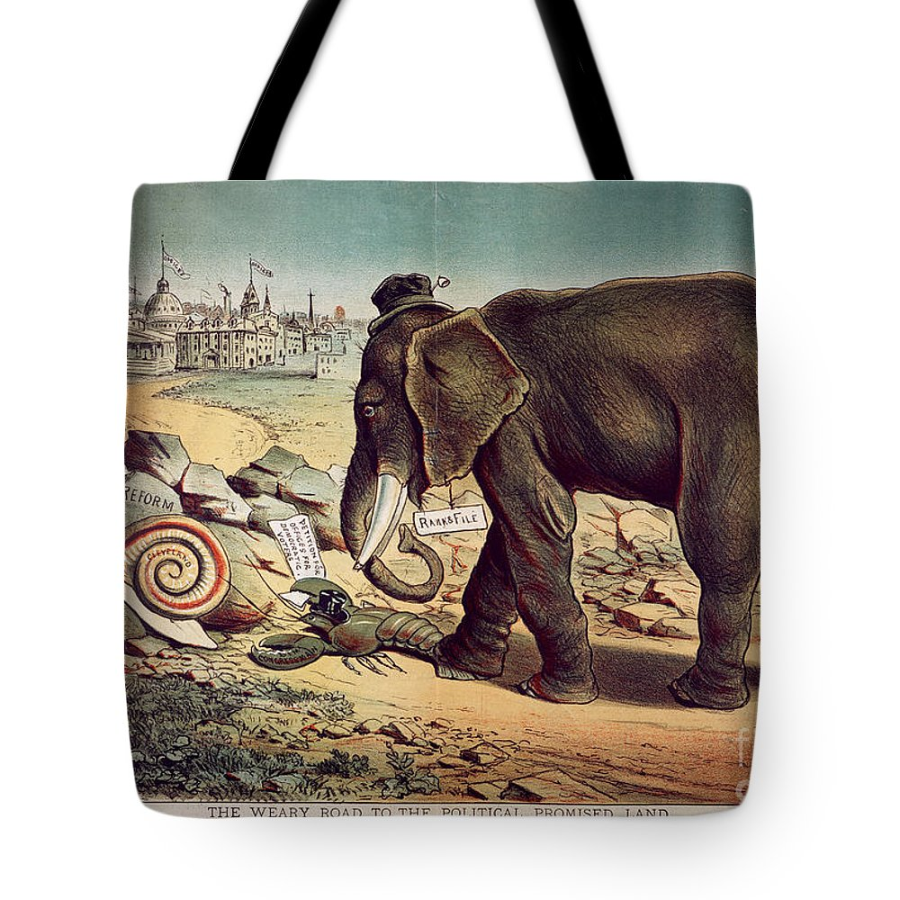 1885 Tote Bag featuring the painting Office Seekers 1885 by Granger