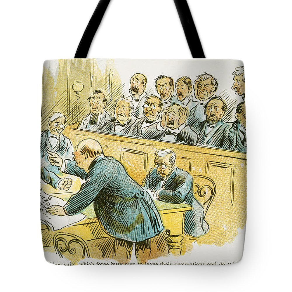 1896 Tote Bag featuring the painting Litigation Cartoon by Granger