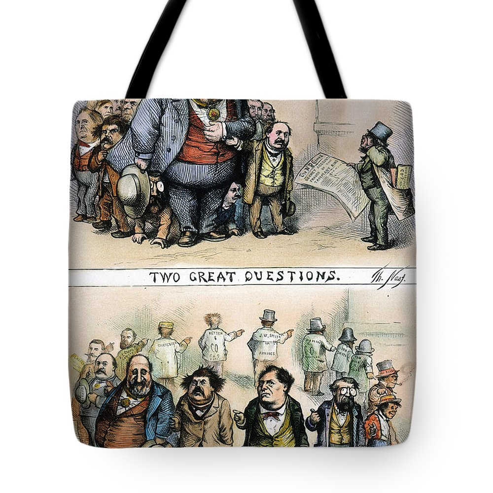 1871 Tote Bag featuring the painting Nast: Tweed Corruption by Granger