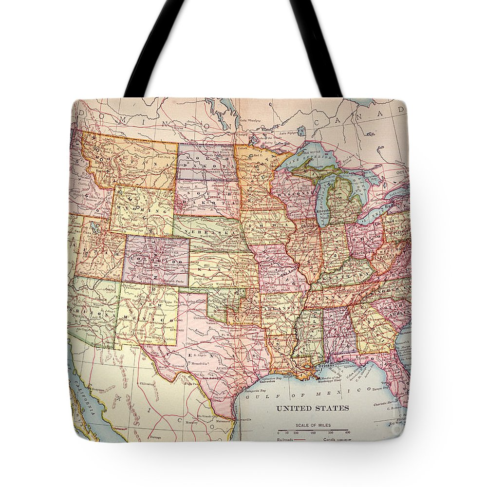 1905 Tote Bag featuring the painting Map: United States, 1905 by Granger