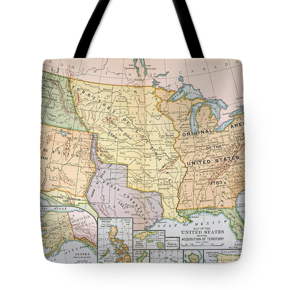 1905 Tote Bag featuring the painting Map: U.s. Expansion, 1905 by Granger