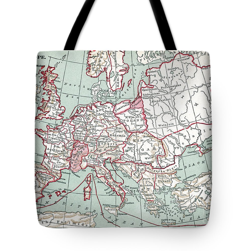 12th Century Tote Bag featuring the painting Map Of Europe, 12th Century by Granger