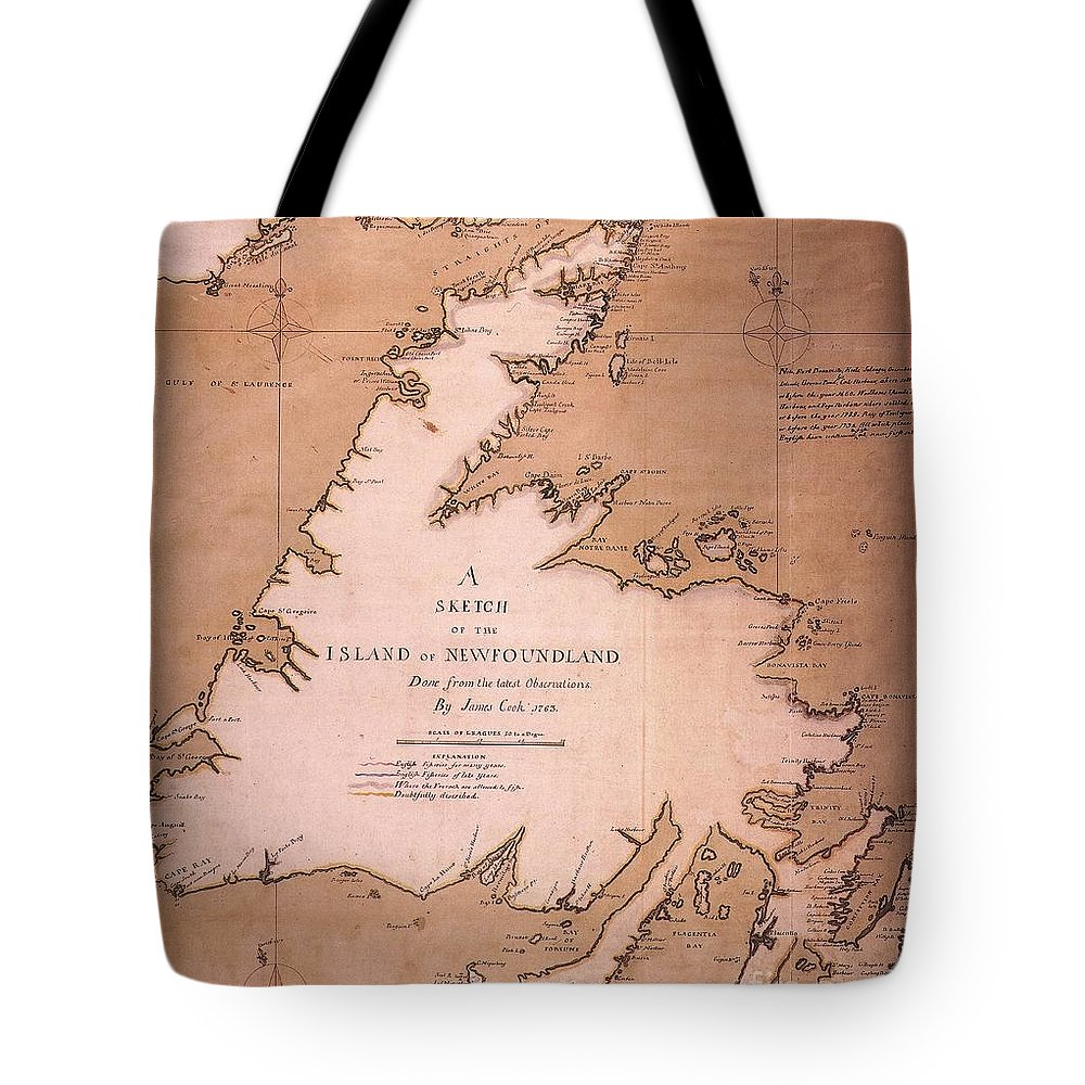 1763 Tote Bag featuring the painting Cook: Newfoundland, 1763 by Granger