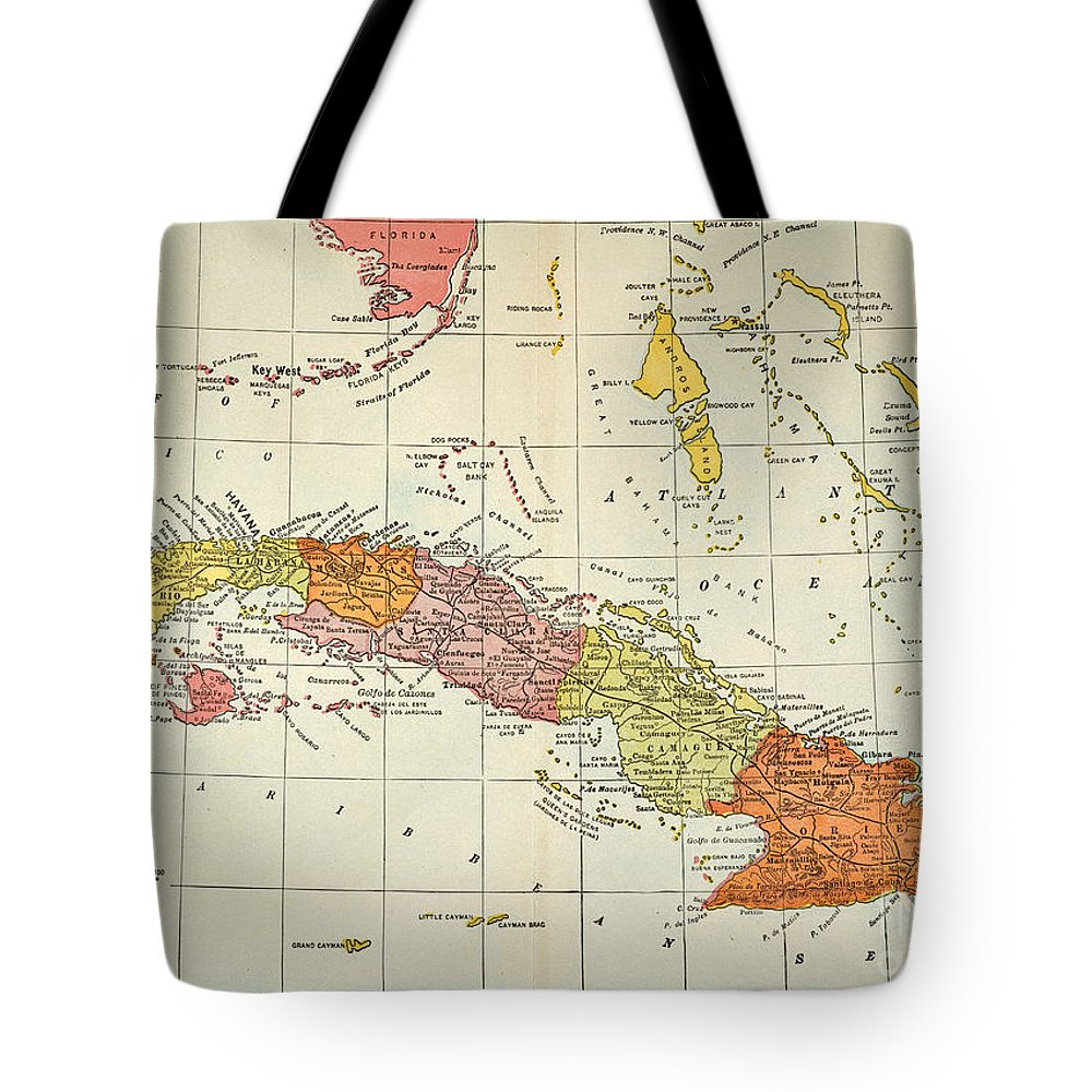 1900 Tote Bag featuring the painting Map: Cuba, 1900 by Granger
