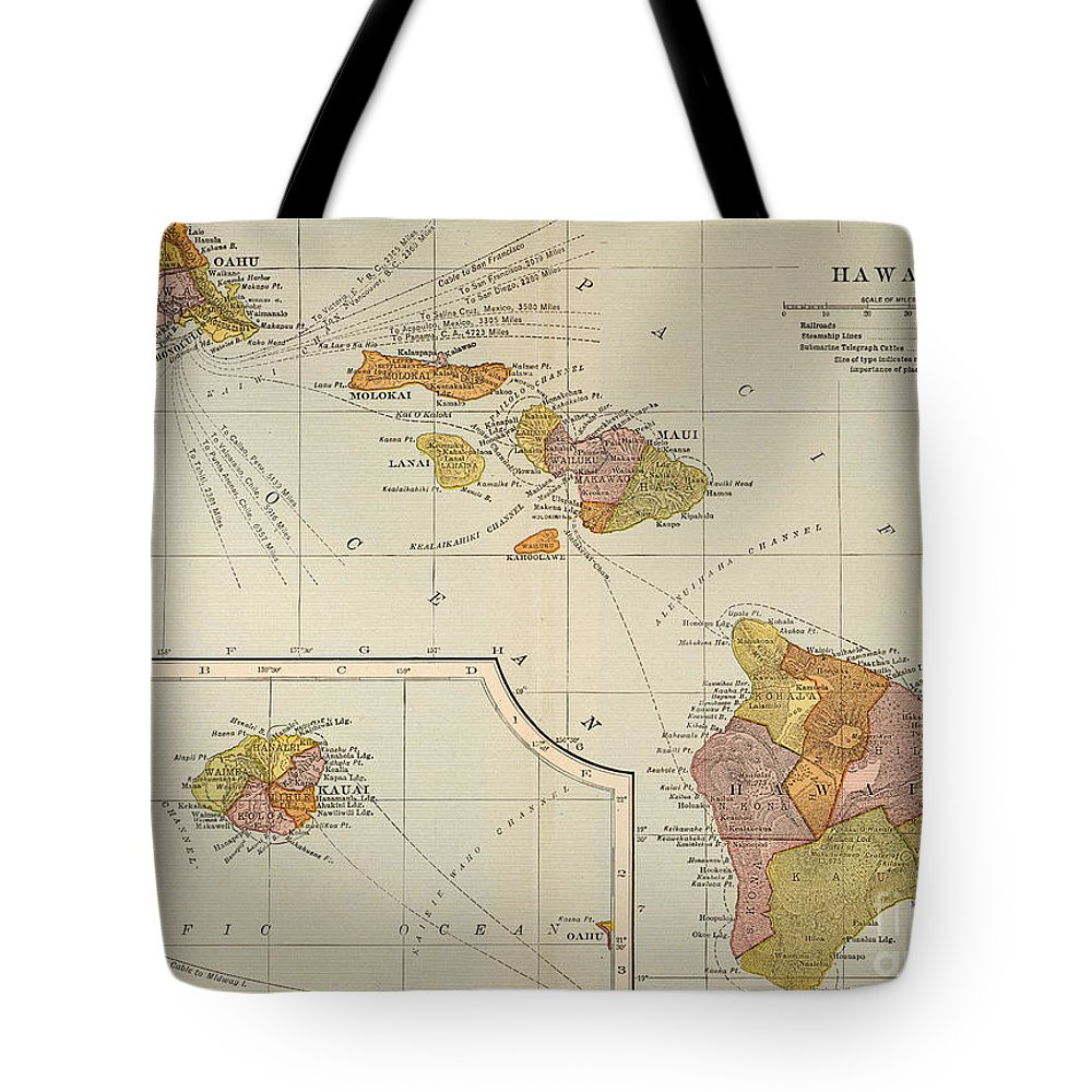 1905 Tote Bag featuring the painting Map: Hawaii, 1905 by Granger
