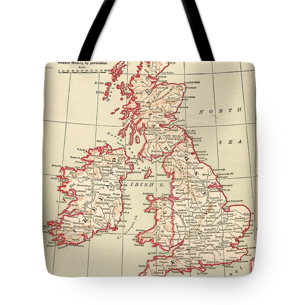 1890 Tote Bag featuring the painting Map: British Isles, C1890 by Granger