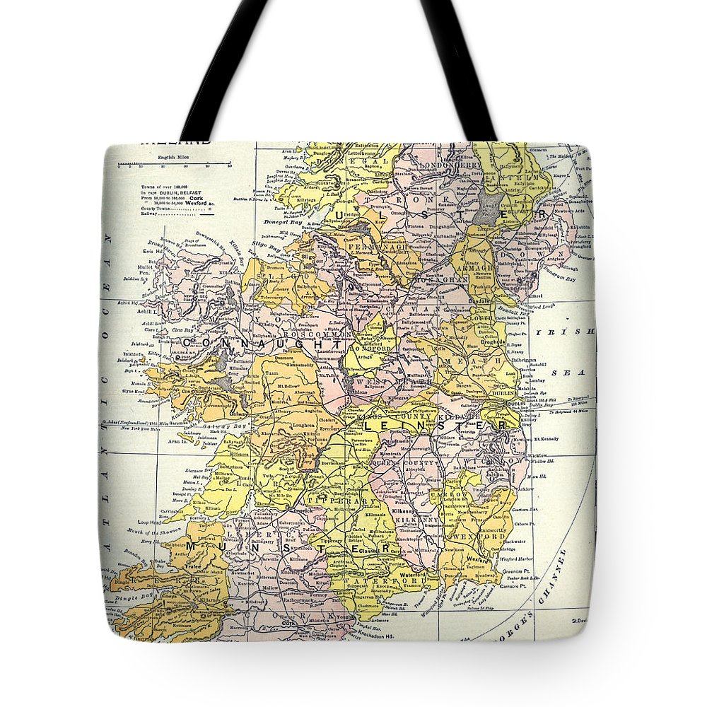 1890 Tote Bag featuring the painting Map: Ireland, C1890 by Granger