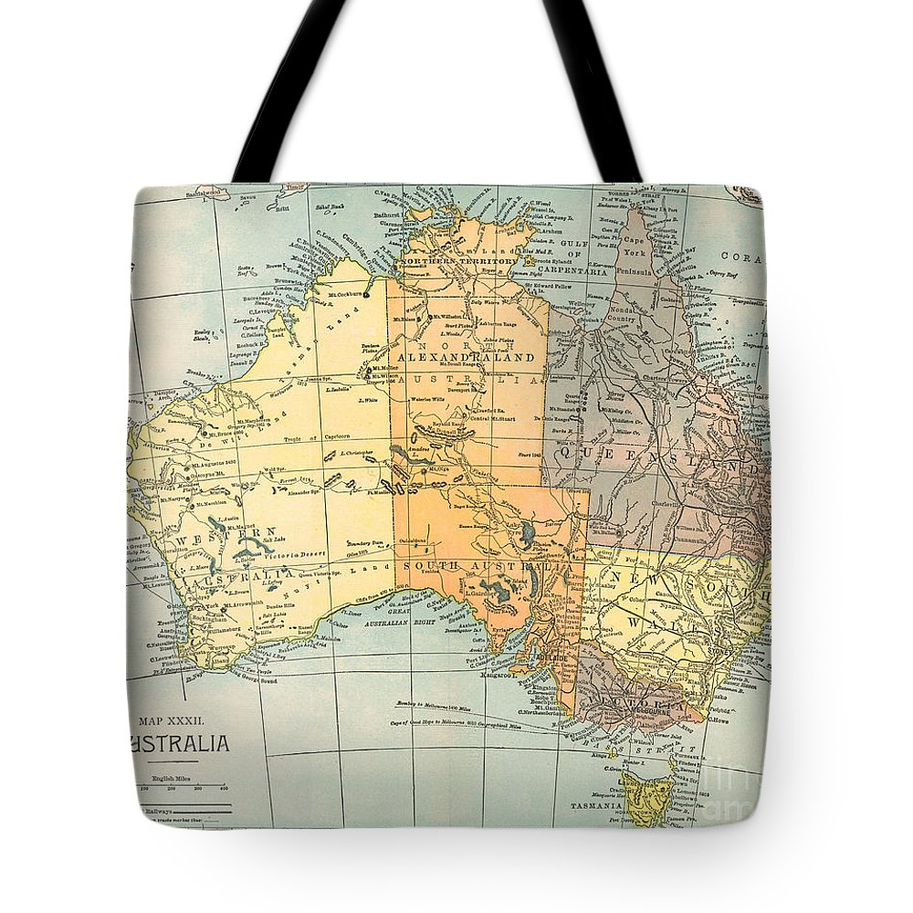 1890 Tote Bag featuring the painting Map: Australia, C1890 by Granger