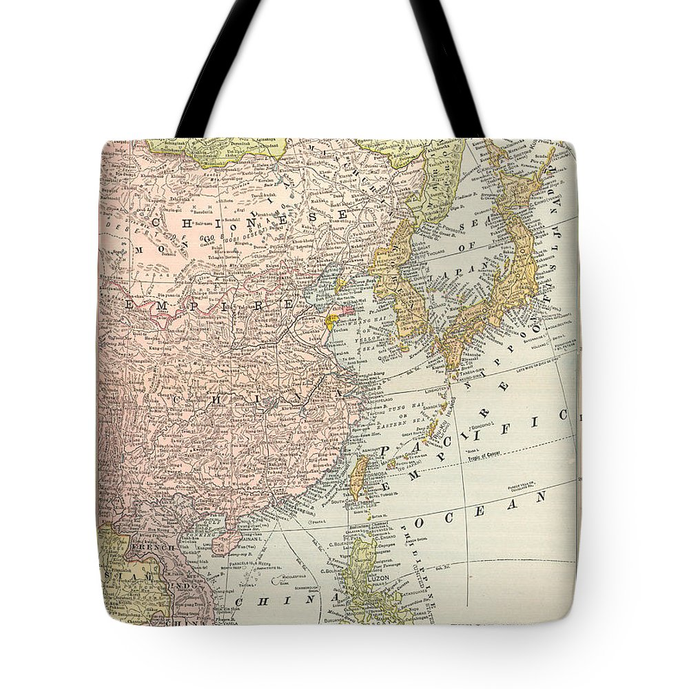 1907 Tote Bag featuring the painting Map: East Asia, 1907 by Granger