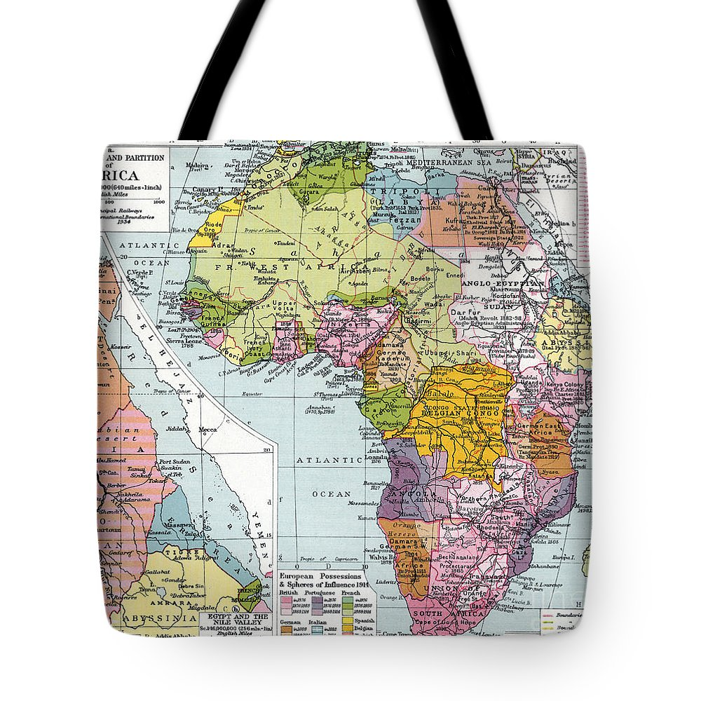 1914 Tote Bag featuring the painting Partitioned Africa, 1914 by Granger