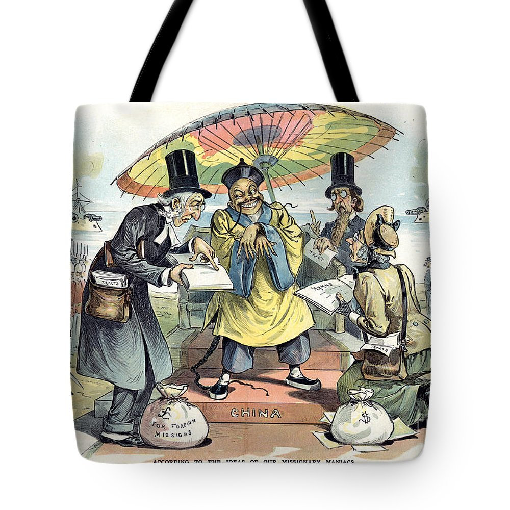 1895 Tote Bag featuring the painting Missionary Cartoon, 1895 by Granger