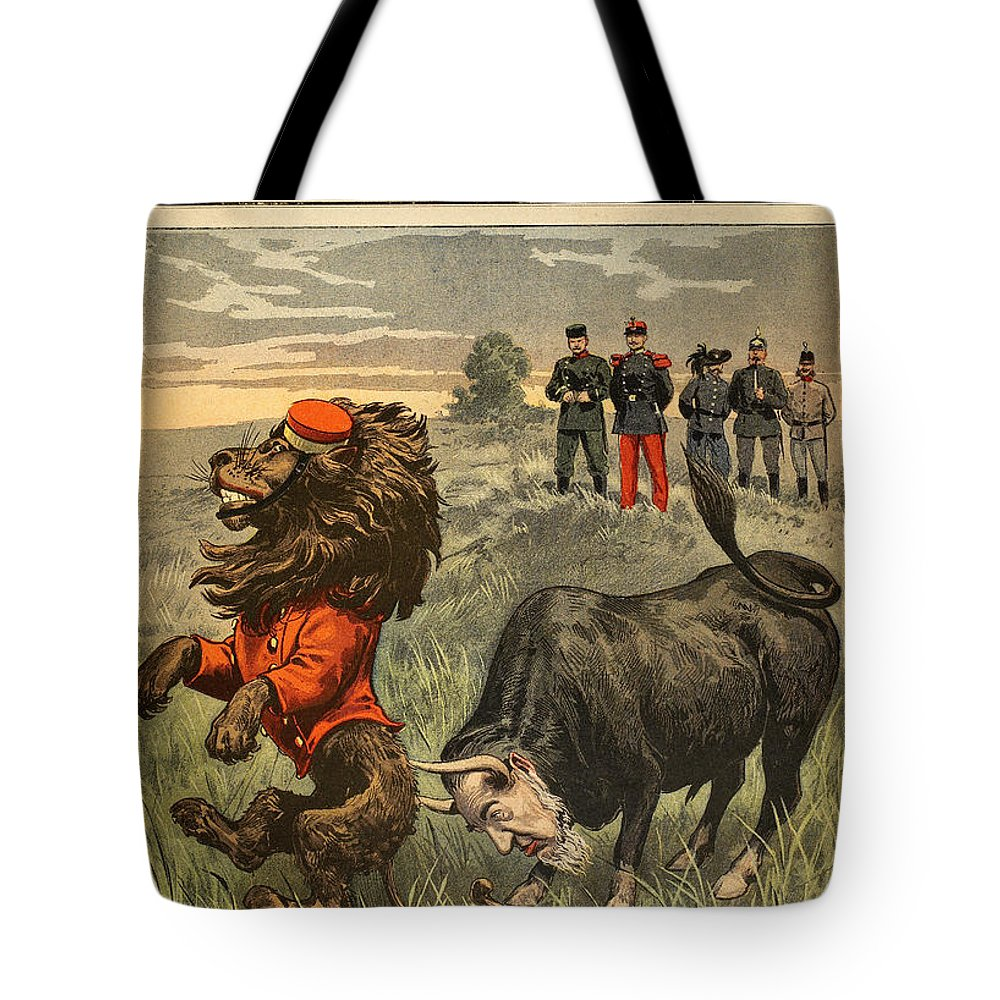 1899 Tote Bag featuring the painting Boer War Cartoon, 1899 by Granger