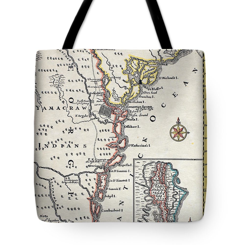 18th Century Tote Bag featuring the painting Map: North America, C1700 by Granger