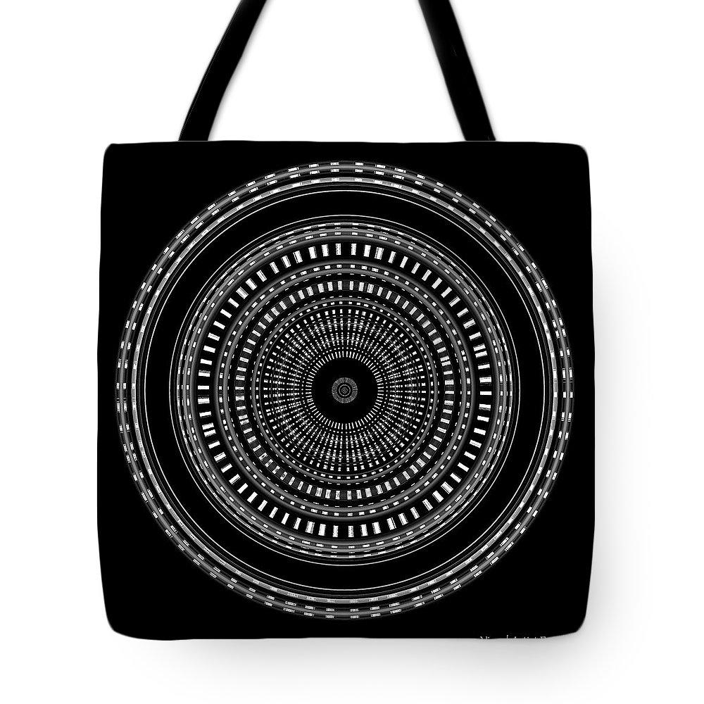 B&w Tote Bag featuring the digital art #010120154 by Visual Artist Frank Bonilla