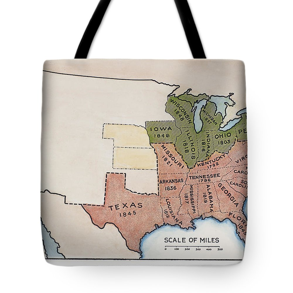 1854 Tote Bag featuring the painting United States Map, 1854 by Granger